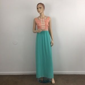 Flying Tomato Embroidered Chiffon Maxi Skirt Dress